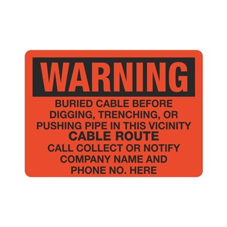 Warning Buried Cable - 4 x 10