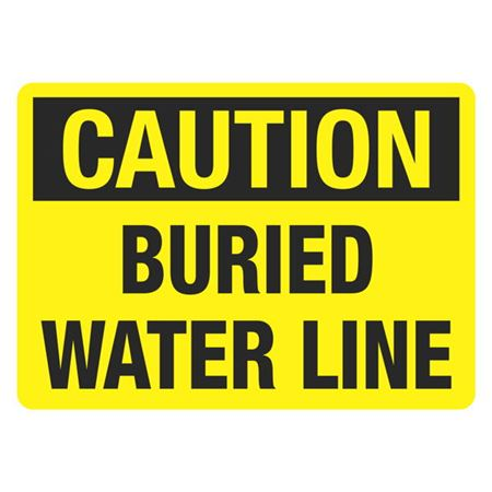 Caution Buried Water Line - 10 x 14