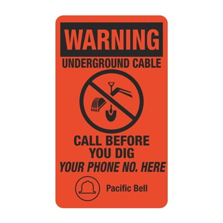 Warning Underground Cable - 3-1/2 x 6