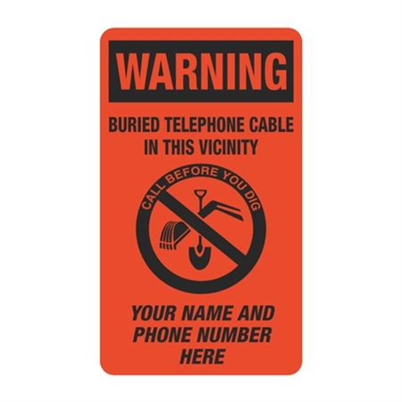 Warning Buried Telephone Cable In This Vicinity - 3 1/2 x 6