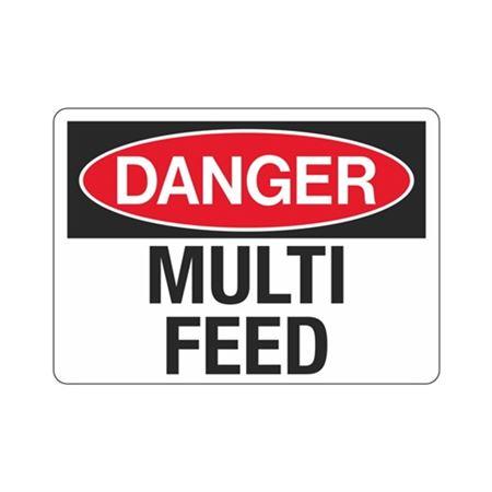 Danger Multi Feed Sign - 10 x 14