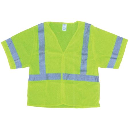 ANSI Class 3 Deluxe Solid Safety Vest - Fluorescent Green