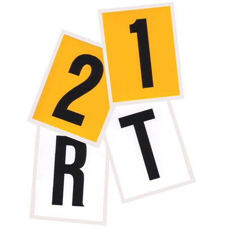 Vinyl Letters and Numbers - 25 Pack - Yellow/Black 2 x 1.5