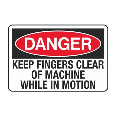 Keep Fingers Clear of Machine While in Motion Decal