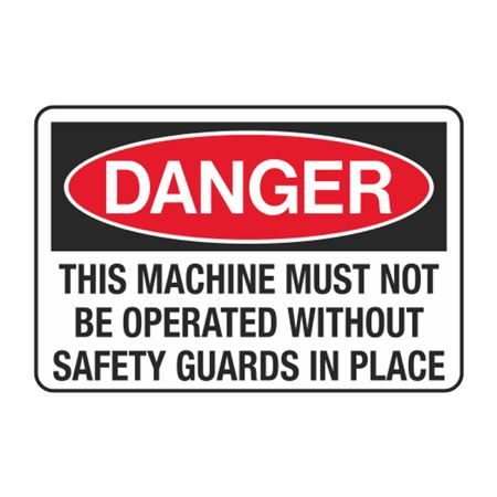 This Machine Must Not Be Operated Without Safety Guard in Place Decal