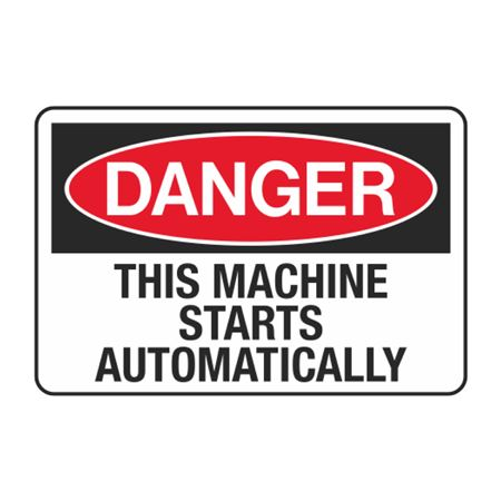 This Machine Starts Automatically Decal