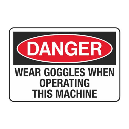 Wear Goggles When Operating This Machine Decal