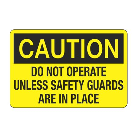 Do Not Operate Unless Safety Guards are in Place Decal