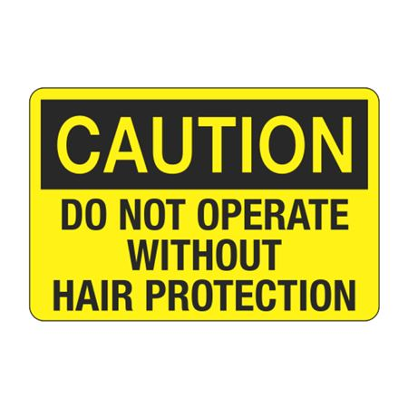 Caution Do Not Operate Without Hair Protection Decal