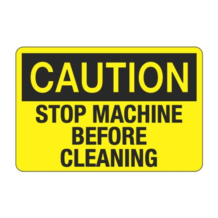 Caution Stop Machine Before Cleaning Decal