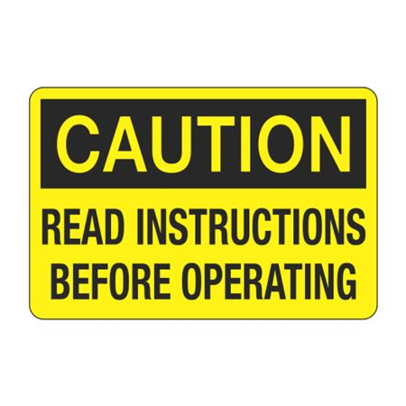 Caution Read Instructions Before Operating Decal