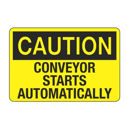 Conveyor Starts Automatically Decal