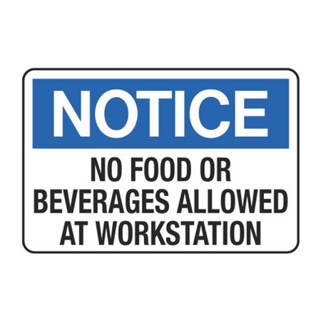 Notice No Food Or Beverages Allowed at Workstation Decal
