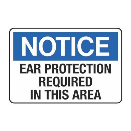 Notice Ear Protection Required In This Area Decal