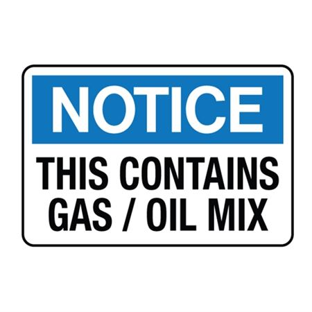 Notice This Contains Gas / Oil Mix Decal