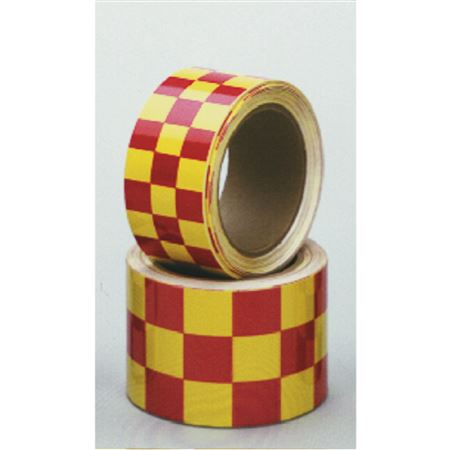 "Color Coded Refl MarkingTape-2""x54'RL-Yellow/Magenta Checks"