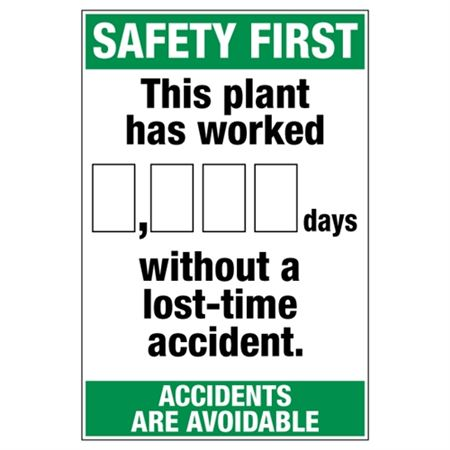 Safety First This Plant - Dry Erase Scoreboard 24 x 36