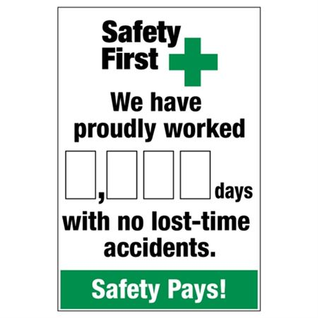 Safety First We Have Proudly Worked (blank) Days With No Lost Time Accidents - 24 in. 36 in.