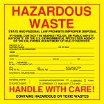 Custom Exterior HazMat Decals - Hazardous Waste California State Regulated 6 x 6