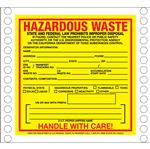 Custom Pin Fed HazMat Labels - Hazardous Waste California State Regulated 6 x 6