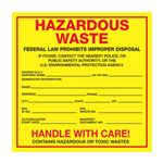 Exterior HazMat Labels on a Roll - Hazardous Waste Paper Label on Roll 6 x 6