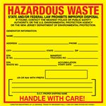 Custom Exterior HazMat Decals - Hazardous Waste New Jersey State Regulated 6 x 6