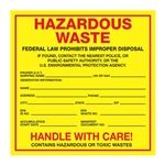Pin Fed HazMat Labels - Hazardous Waste 6 x 6