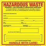 Custom Exterior HazMat Decals - Hazardous Waste Generator Information 6 x 6