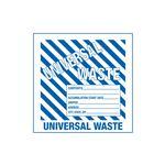 Assorted Pre-Printed HazWaste Labels  - Universal Waste w/Blue Stripes 6 x 6