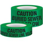Underground Warning Tape - Non-Detectable Caution Buried Sewer Line Below (Green)