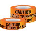 Underground Warning Tape - Non-Detectable Caution Telephone Line Below (Orange)
