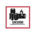Lithium Battery Shipping Labels - UN3090 Lithium Battery Marking Label 4-1/2 x 5