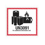 Lithium Battery Shipping Labels - UN3091 Lithium Battery Marking Label 4-1/2 x 5