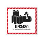 Lithium Battery Shipping Labels - UN3480 Lithium Battery Marking Label 4-1/2 x 5