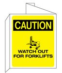 """3D"" Fire Equipment Wall Signs - (Caution Header) Watch Out For Forklifts 8 x 14"