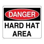 """""""3D"""" Fire Equipment Wall Signs - (Danger Header) Hard Hat Area 8 x 14"""