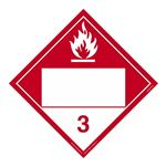 Class 3 - Combustible Liquid Blank - Adhesive 10 3/4 x 10 3/4