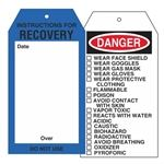 Chemical Instruction Tags - Instructions For Recovery Tag 4 x 7.5