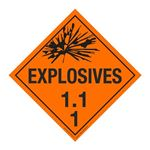 Class 1 - Explosives 1.1J Placard