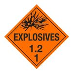 Class 1 - Explosives 1.2F Placard