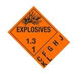 Class 1 Explosives Placard - 1.3 Handy Tab
