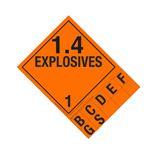 Class 1 Explosives Placard - 1.4 Handy Tab