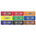 Custom Property Control Tags -Anodized Aluminum - 3/4 x 2