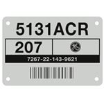 Aluminum Barcoded Plates - Custom - 2.9 x .875 x .005