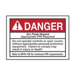 Arc Flash Decals - Danger Arc Flash Hazard -  pack/5 3.5 x 5