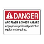Arc Flash Decals and Signs - Danger Arc Flash and Shock Hazard - roll/100 3.5 x 5