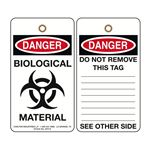 Danger Biohazard Biological Material Tag