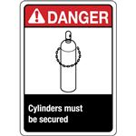 Danger Cylinders Must Be Secured Sign - Graphic