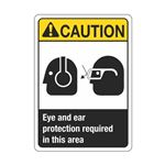 Caution Eye And Ear Protection Required In This Area Sign