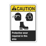 Caution Protective Wear Required In This Area Sign